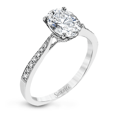 Simon G 18K Oval Diamond Engagement Ring with Diamond Pave Basket