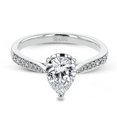 Simon G 18K Pear Shape Diamond Engagement Ring with Diamond Pave Basket