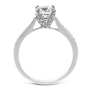 Simon G 18K Round Diamond Engagement Ring with Diamond Pave Basket