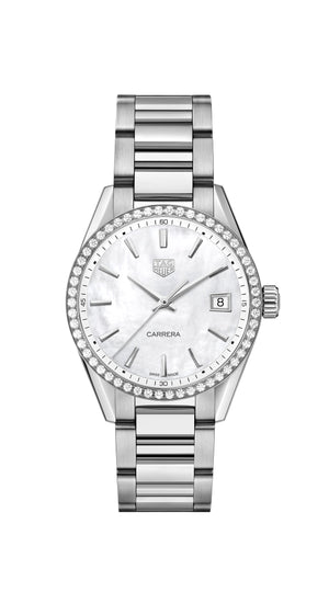 TAG Heuer Carrera Ladies Quartz (White Dial / 36mm / Diamond Bezel)