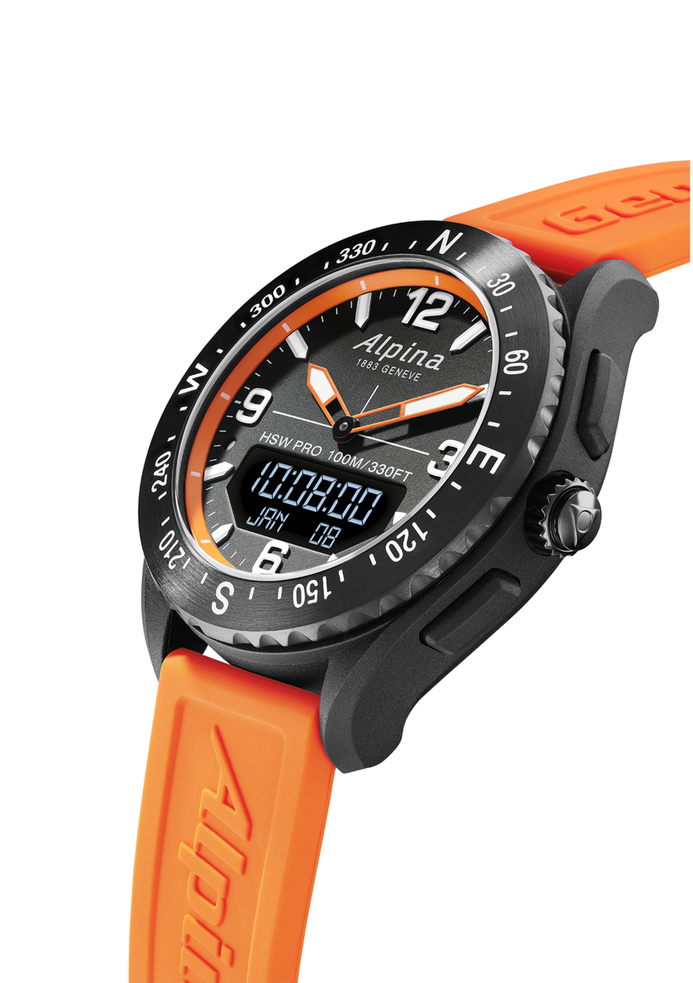Alpina AlpinerX Smartwatch  (Black Dial / 45mm / Orange)