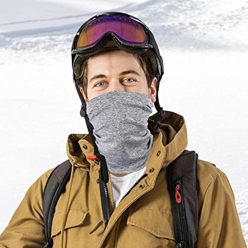 2 Pack Neck Gaiter, Multifunctional Headwear Sports-Headbands, Breathable Face Cover Bandanas Balaclava for Sun UV, Cycling, Fishing, Hiking Grey