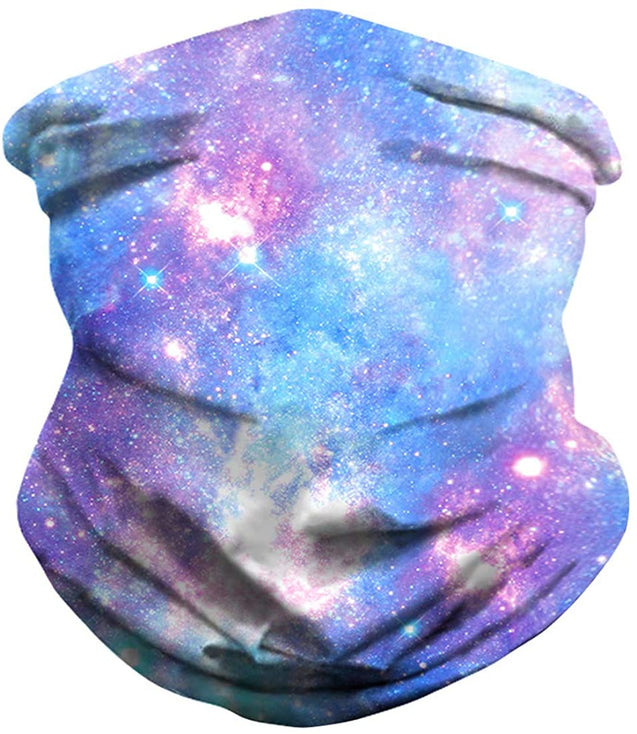 3D Galaxy Print Seamless Bandana Neck Gaiter Scarf Dust Wind Sun Protection Scarf Neck Balaclava