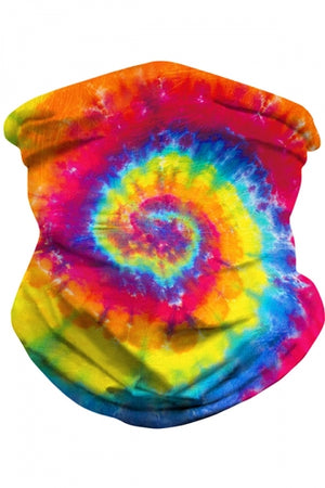 Unisex Windproof Tie Dye Print Neck Gaiter Yellow