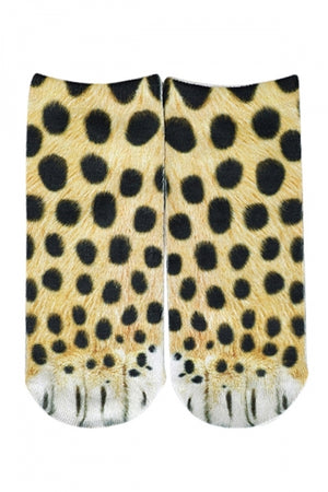 Women's Novelty Leopard Paws Print Funny Animal Low Cut Socks
