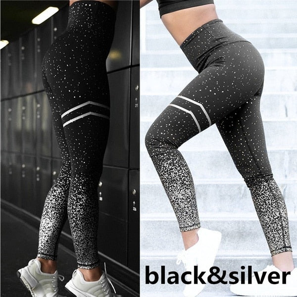 Gym Yoga Pants Sports Wear For Women  Professional Running Fitness Sport Leggings Push Up Tights Printed Pants