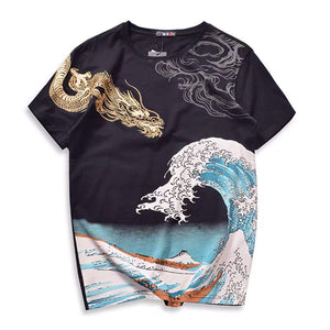 Golden Dragon & The Great Wave Embroidered T-Shirt - Kimura Fox