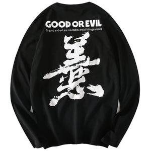 - Good or Evil Embroidered Long Sleeve T-Shirt - KimuraFox