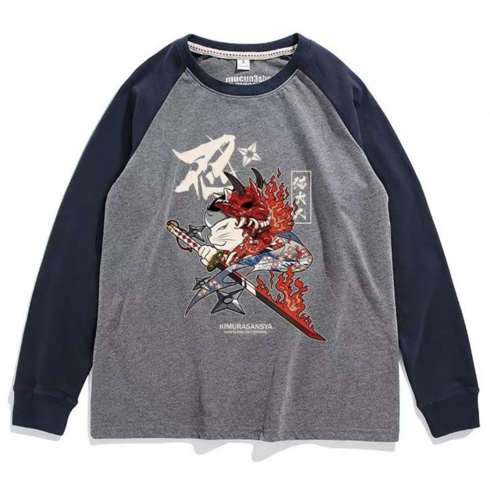 - Neko Ninja Long Sleeve T-shirt - KimuraFox
