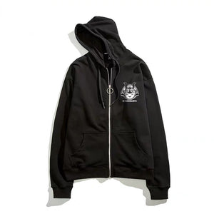 japanese jacket - Samurai Cat Zip-up Hoodie - KimuraFox