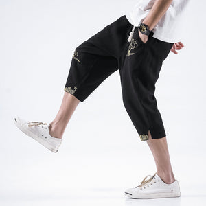 Capri Pants - Golden Cloud Drawstring Cropped Pants - KimuraFox