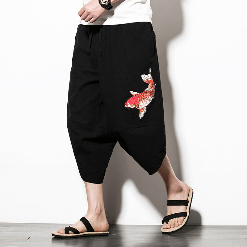 Capri Pants - Black Embroidered Koi Drawstring Cropped Pants - KimuraFox