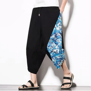 Capri Pants - Blue Wave Drawstring Cropped Pants - KimuraFox