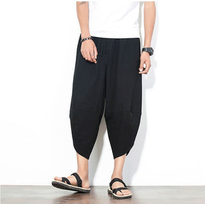 Black Drawstring Cropped Pants - Kimura Fox