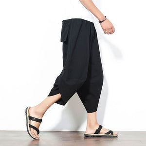 Capri Pants - Black Drawstring Cropped Pants - KimuraFox