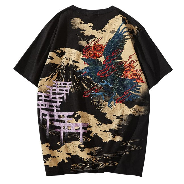 Raven & Fuji Mt. Embroidered T-Shirt - Kimura Fox