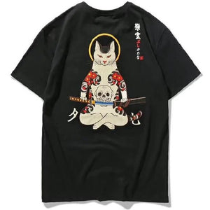 Samurai Cat & Embroidered Fox Mask T-shirt - Kimura Fox