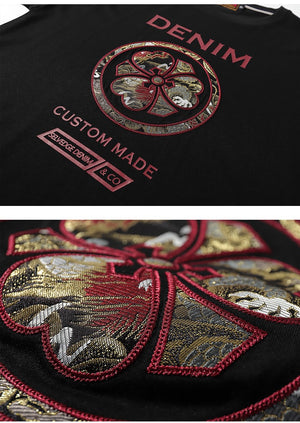 Japanese Dragon Family Crest Embroidery T-Shirt - Kimura Fox