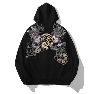 Eagle Embroidery Zip-up Hoodie - Kimura Fox