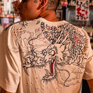 - Ukiyo-E Dragon Embroidered T-shirt - KimuraFox