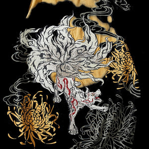 Nine-Tailed Fox Embroidered T-Shirt - Kimura Fox