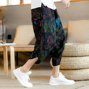 Capri Pants - 【NEW】Mural Pattern Drawstring Cropped Pants - KimuraFox