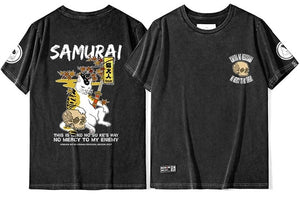 t-shirt - Neko Sword Master and Skull T-Shirt - KimuraFox