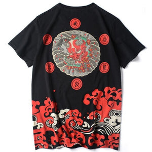Oni & Red Wave T-Shirt - Kimura Fox