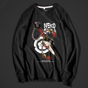 - Kunai and Neko Ninja Long Sleeve T-shirt - KimuraFox