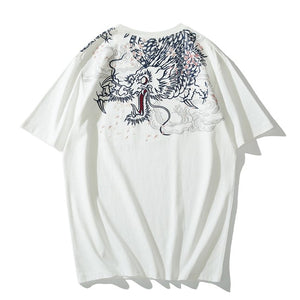 Ukiyo-E Dragon Embroidered T-shirt - Kimura Fox