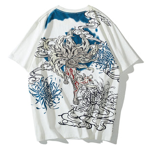 - Nine-Tailed Fox Embroidered T-Shirt - KimuraFox