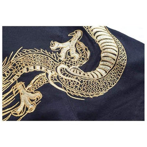 t-shirt - Golden Dragon & The Great Wave Embroidered T-Shirt - KimuraFox
