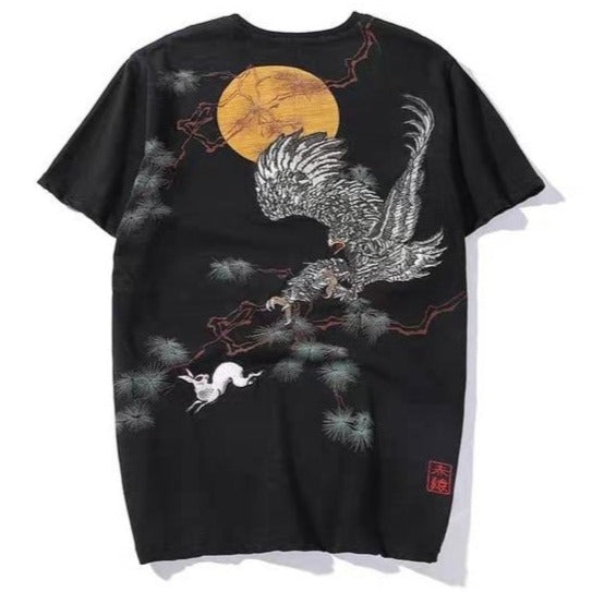 Eagle Chasing Rabbit Embroidered T-Shirt - Kimura Fox