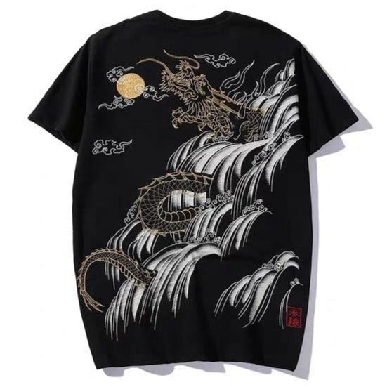 t-shirt - Koi & Dragon Waterfall Embroidered T-Shirt - KimuraFox