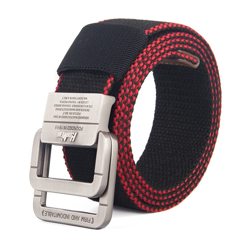- Red Edged Black Double D Ring Canvas Belt - KimuraFox
