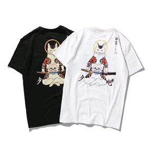 - Samurai Cat & Embroidered Fox Mask T-shirt - KimuraFox