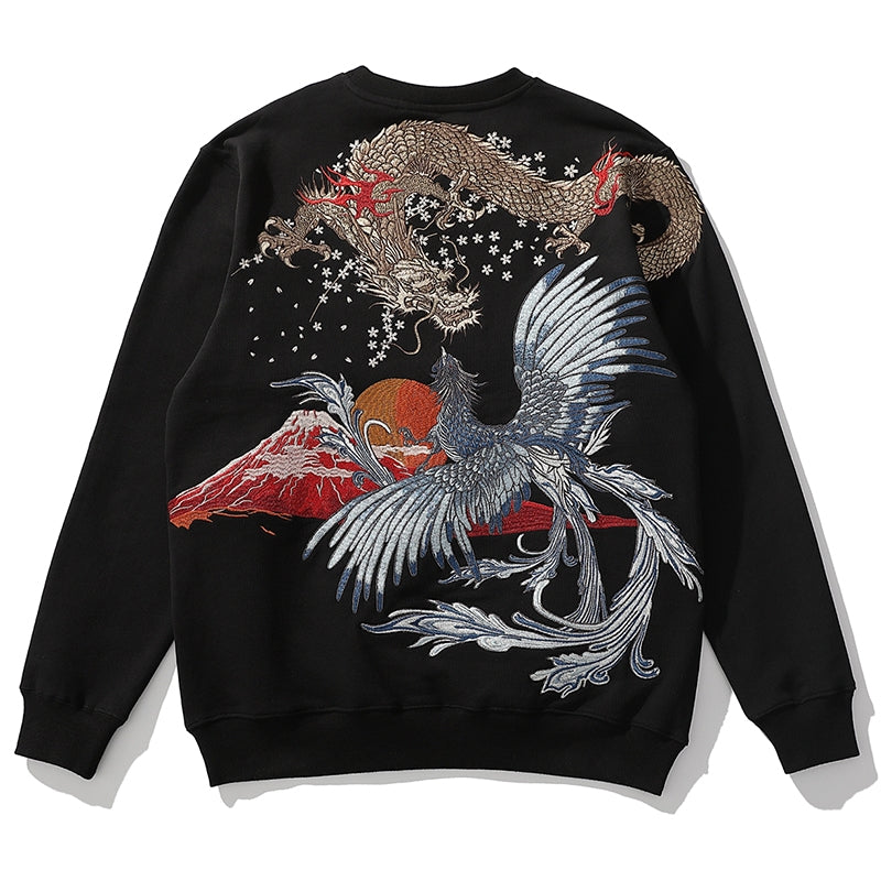 - Golden Dragon Vs Silver Phoenix Embroidery Sweatshirt - KimuraFox