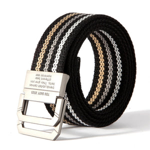 - Striped Double D Ring Canvas Belt - KimuraFox