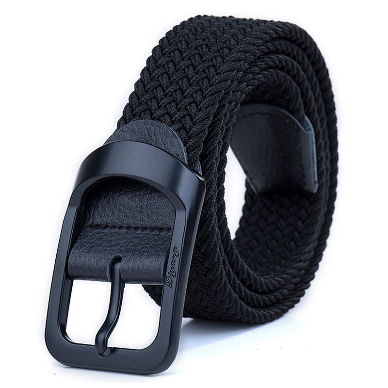 Black Coated Buckle Stretch Woven Belt - Kimura Fox