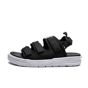 - Triple-Strap Black Slide Sandals - KimuraFox