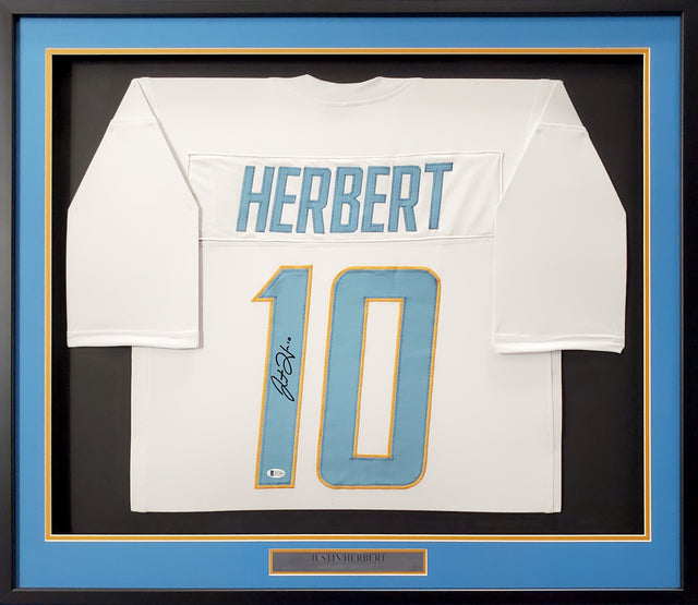 Los Angeles Chargers Justin Herbert Autographed Framed White Jersey Beckett BAS Stock #191177