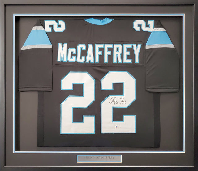 Carolina Panthers Christian McCaffrey Autographed Framed Black Jersey Beckett BAS Stock #191183