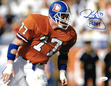 Karl Mecklenburg signed Denver Broncos 11X14 Photo Phil 4:8 -JSA Witnessed Hologram