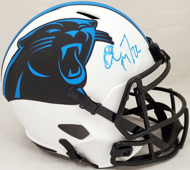 Christian McCaffrey Autographed Carolina Panthers Lunar Eclipse Full Size Speed Replica Helmet (Smudged) Beckett BAS #WH71124
