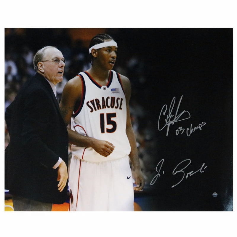 Carmelo Anthony/Jim Boeheim Syracuse Univeristy Dual Signed Syracuse 16x20 Photo with