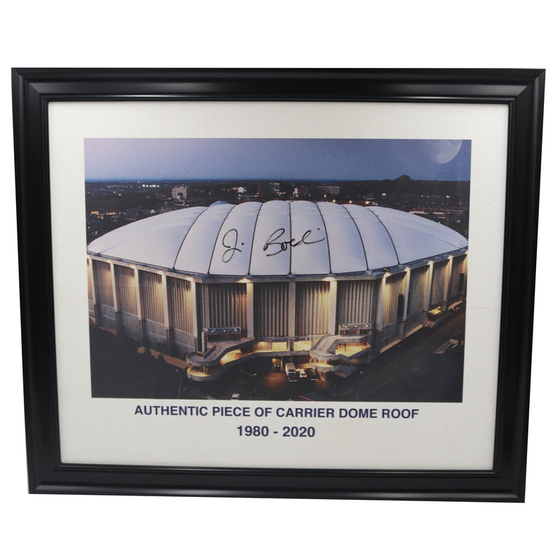 Jim Boeheim Autographed Authentic 20x24 Framed Piece of Carrier Dome Roof with Printed Carrier Dome Image