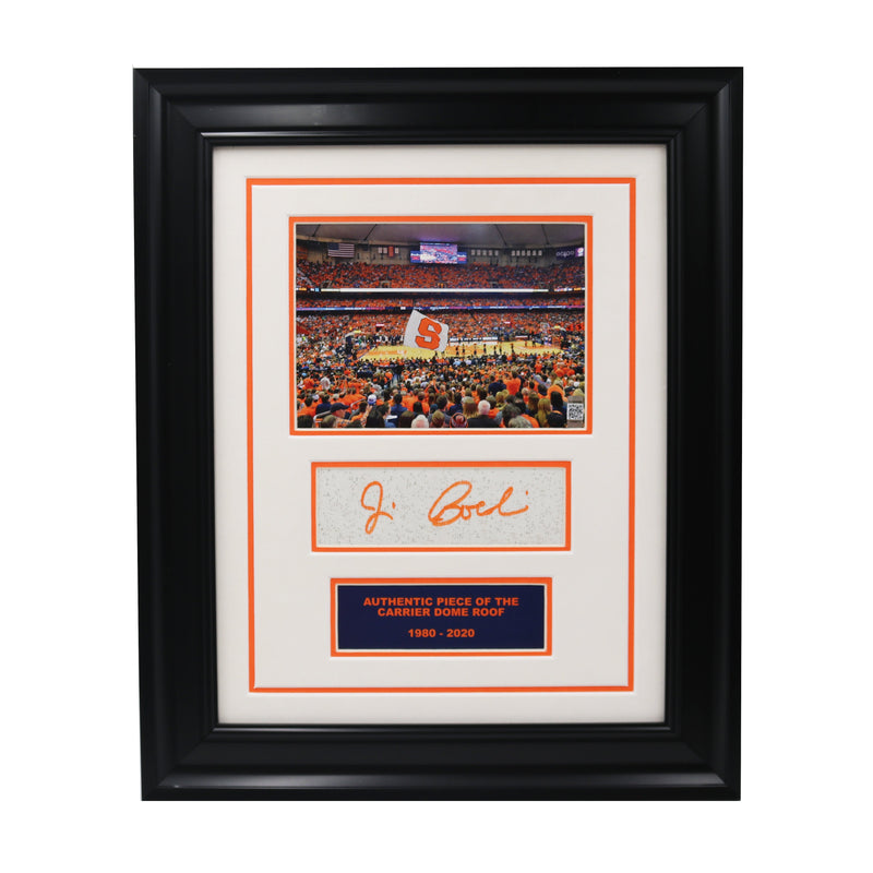 Jim Boeheim Autographed Syracuse University Framed Basketball Game Photo Collage with Piece of Authentic Carrier Dome Roof