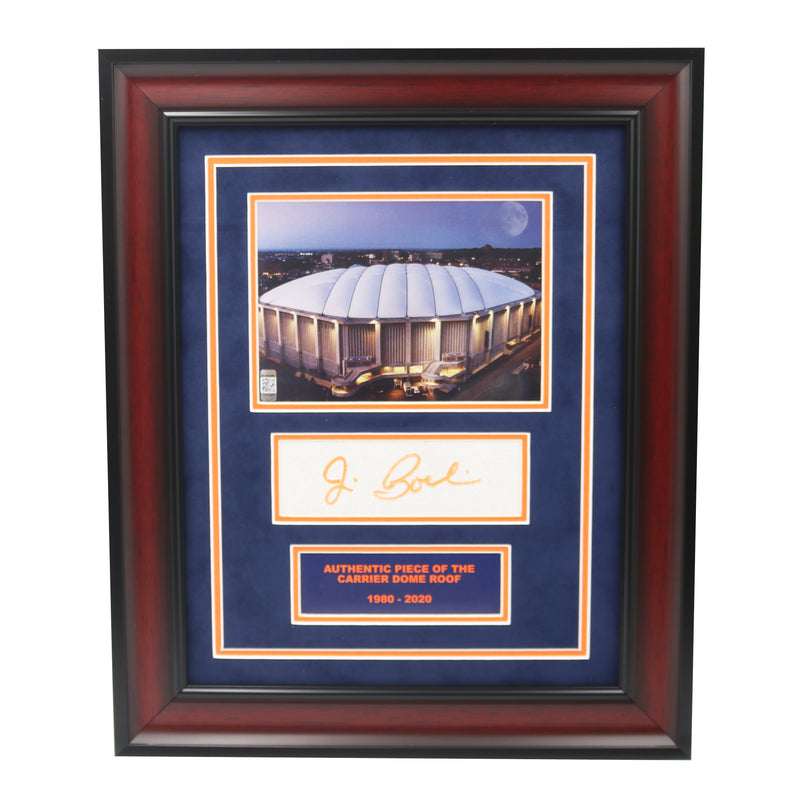 Jim Boeheim Autographed Syracuse University Framed Dome Exterior Photo Collage with Piece of Authentic Carrier Dome Roof