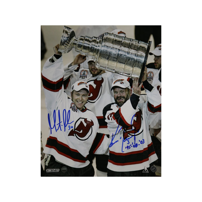 Martin Brodeur/Ken Daneyko New Jersey Devils Dual Autographed 2003 Holding Stanley Cup 8x10 Photo with Daneyko Inscription (Steiner Hologram Only)