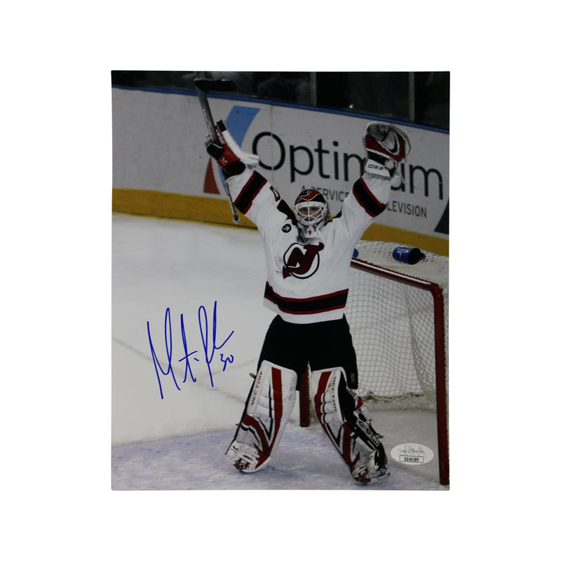 Martin Brodeur New Jersey Devils Autographed Arms Raised 8x10 Photograph (JSA Authenticated)